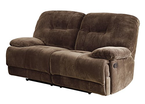 Homelegance 9723-2 Upholstered Double Reclining Love Seat, Dark Brown, Textured with Plush Microfiber
