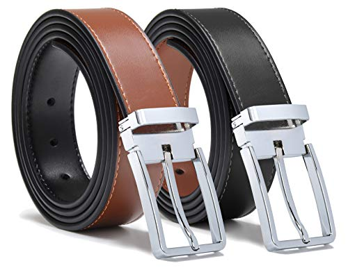 Mark Fred Mens Genuine Leather Dress Belt Reversible and Adjustable Fit (Silver, Adjustable From Size 41