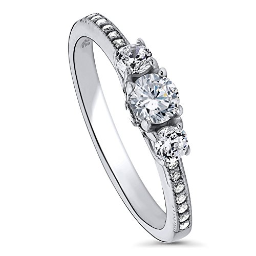 BERRICLE Rhodium Plated Sterling Silver Cubic Zirconia CZ 3-Stone Promise Engagement Ring Size 7 0.25 Ct Engagement Ring