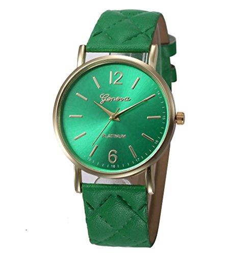 Ikevan Fashion Women Geneva Roman Watch Lady Leather Band Analog Quartz Wrist Watch ()