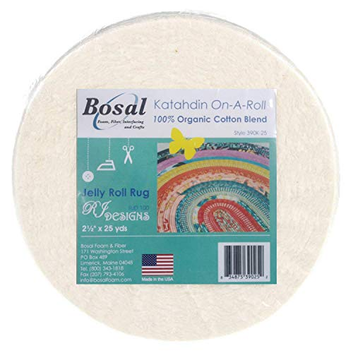 Bosal Katahdin Batting On-A-Roll, Summer 3 oz, 2-1/2 inch by 25 yards, 100% Organic Cotton (1 Roll),Off-White