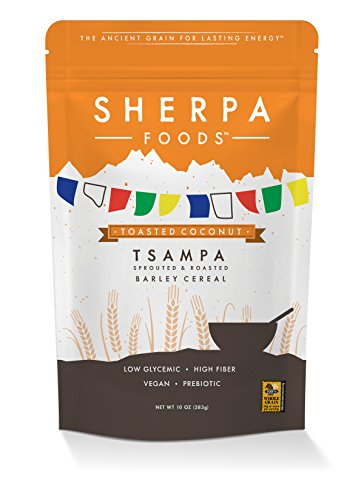 Peak Sherpa Tsampa Cereal, Toasted Coconut Flavor, One 10 Ounce Pouch, Ready to Eat, Certified Organic, Sprouted & Roasted Whole Grain Barley Cereal