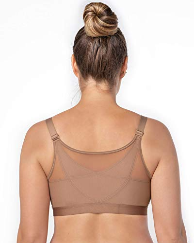 Leonisa Back Support Posture Corrector Wireless Sports Bra for Women with Contour Cups Brown