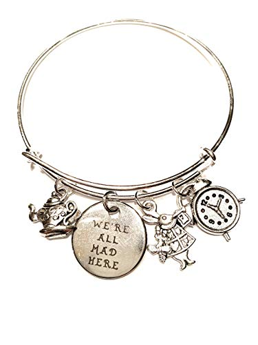 - Ivy & Clover Alice in Wonderland Inspired We are All Mad Here Charm Bangle Bracelet