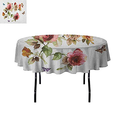 - DouglasHill Flower Easy Care Leakproof and Durable Tablecloth Shabby Chic Roses Buds Leaves Tulips Floral Details Butterfly Natural Eco Print Outdoor Picnic D70 Inch Multicolor