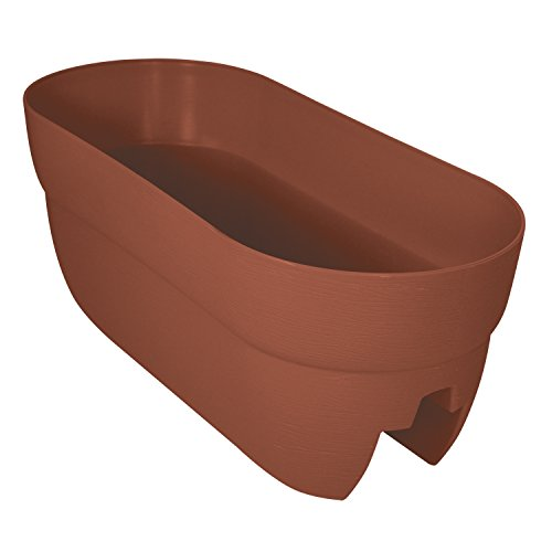 "EMSCO Group Bloomers Railing Planter with Drainage Holes - 24"" Weatherproof Resin Planter - Terra Cotta"