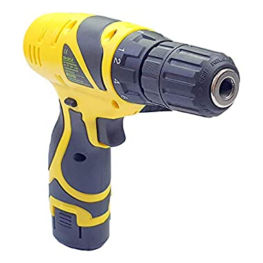 Cheston Plastic Cordless Drill Screw Driver 10mm Keyless Chuck 12V with One Battery 7