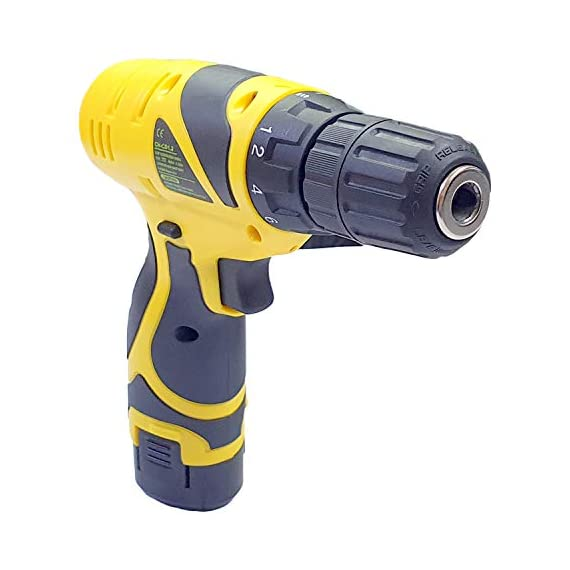 Cheston Plastic Cordless Drill Screw Driver 10mm Keyless Chuck 12V with One Battery 3