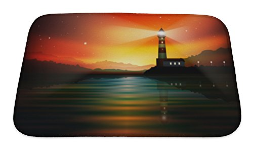 Gear New Memory Foam Bath Rug, Abstract With Lighthouse, 24x17, 6254035GN -