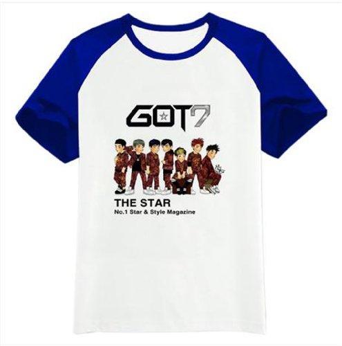 GOT 7 Kpop T shirt Short sleeve shirt accessoires +1 piece of GOT 7 poster lomo card (Style C, M)