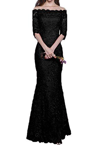 U Halb Promkleid Ivydressing Abendkleid Aermel Schwarz Hochwertig Partykleid Festkleid Ausschnitt Spitze Damen pqqOxwCE
