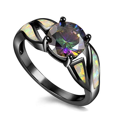 UFOROO Black Rhodium Plated Opal Anniversary Rings for Women Colorful Cubic Zircon Engagement Band Size 6