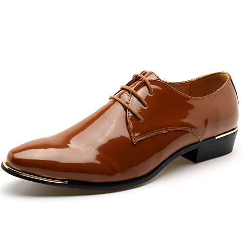 Z-joyee Mens Patent Leather Tuxedo Dress Shoes Lace up pointed Toe Oxfords Formal Wedding Shoes, Brown, Us 9.5