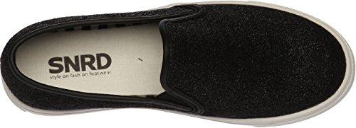 snrd-102Unisex Casual flach Glitzer slip-ons Schuhe Schwarz
