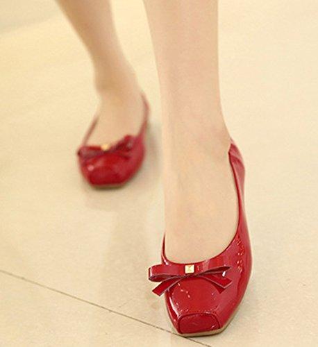 Aisun Damen Faltbare Lack Schleifen Geschlossene Schuhe Slipper Ballerinas Rot