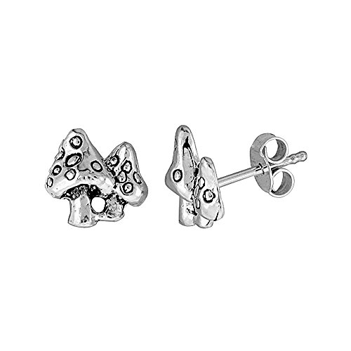 (Tiny Sterling Silver Mushroom Stud Earrings 3/8 inch )