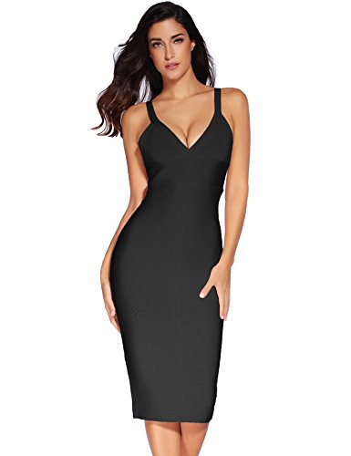 Meilun Women's Rayon Strap mid-Calf Length Bandage Party Dress X-Small Black ()