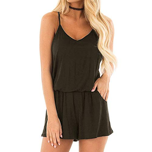 Top-Vigor Womens Rompers Summer Beach Loose V Neck Spaghetti Strap Short Army Green Rompers and Jumpsuits for Women with Pockets (Waist Strap Cinch)