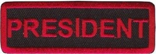 PRESIDENT RED Club OFFICER Embroidered Biker Motorcycle MC Vest Patch PAT-1439 by heygidday   B007WMYPU0