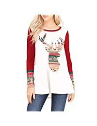 Theshy Fashion Women Merry Christmas Elk Print O-Collar Long Sleeve Top Blouse Shirt