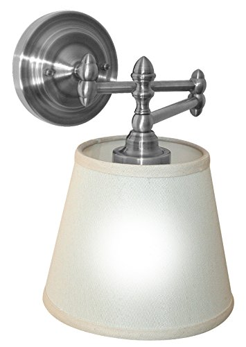 It's Exciting Lighting IEL-6000 Swing Arm Reading Light, Satin Nickel Finish, Battery Powered With 24 LED Light Pod And No Electrical Outlet (Battery Powered Sconces)