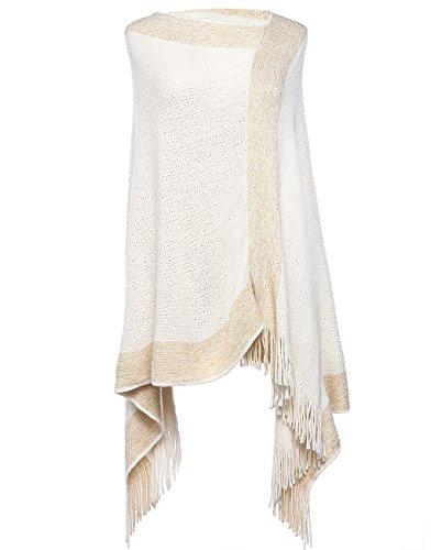 SherryDC Women's Colorblock Knit Tassel Asymmetric Hem Travel Wrap Poncho Sweater Pullover (Knit Wrap Pattern)
