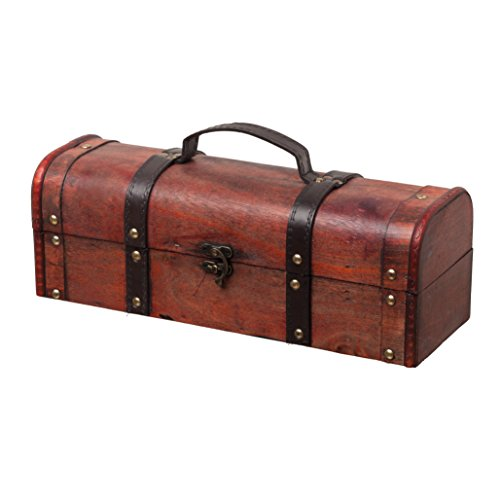 SLPR Chest Wine Champagne Box with Handle | Single Bottle Gift Box Old-Fashioned Antique Vintage Style for Birthday Parties Wedding Decoration Photoshoots