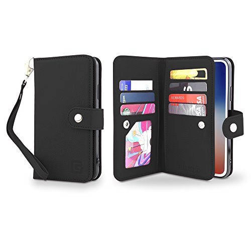 Gear Beast Flip Cover Dual Folio Case fits iPhone 8 Plus / 7 Plus Wallet Case Slim Protective PU Leather Case 7 Slot Card Holder Including ID Holder 2 Inner Pockets Stand Feature Wristlet