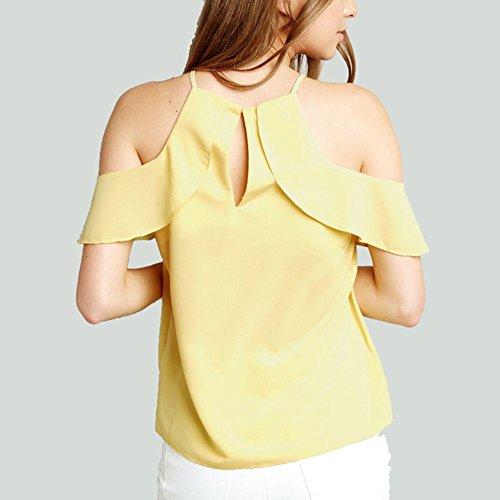 Jaune Grande Chemisier Femme Hauts Lache Manches Mousseline Shirt sans Taille Gland Qitun Blouse Bretelles UaqgOOA