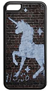 White Unicorn Wall-Art-Graffiti- Case for the Apple Iphone 6- Hard Black Plastic Snap On Case