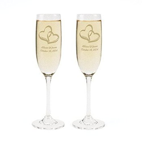 Personalized Two Hearts Wedding Flute Set - Wedding Supplies & Champagne & Shot Glasses