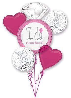 Hot Pink White Silver I DO Wedding Ring 5 Balloon Bouquet Kit - Bridal Shower ()