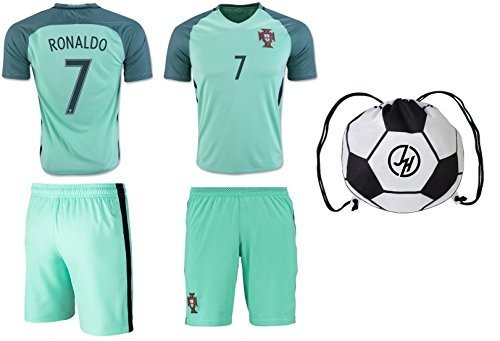 Portugal Ronaldo #7 Soccer Jersey Shorts 4 in 1 Multiple Gift Kit Kids Youth Sizes YL YM YS (Youth Medium 8 to 10 Years, Away Teal - Backpack Gift Set) ()