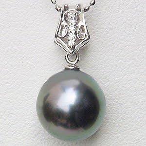 真珠 パール ペンダントトップ ヘッド タヒチ黒蝶真珠 10mm ホワイトゴールド