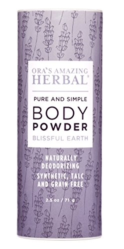 Natural Body Powder for Women and Men, Dusting Powder, Natural Deodorant Powder, Talc-Free, No Corn, Gluten, GMO, Ora's Amazing Herbal, Blissful Earth Lavender Scent Anti-Fungal Essential Oils - Non Talc Powder
