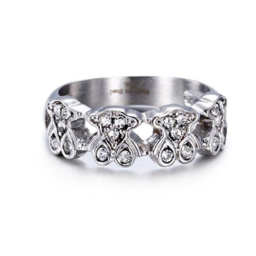 URs Women's Silver Stainless Steel Ring with Four Rhinestone Teddy Bears (7) - Rhinestone Teddy