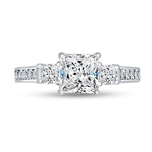 Size - 8.5 - Solid 14k White Gold Princess Cut Three Stone Solitaire Engagement Ring CZ Cubic Zirconia (1.75cttw., 1.0ct. Center)