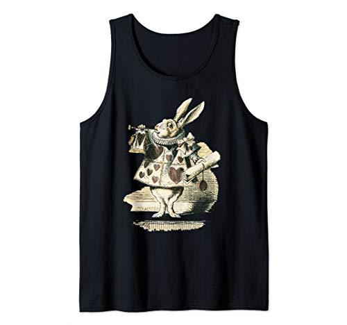 - Alice in Wonderland White Rabbit Playing Cards Design Tank Top