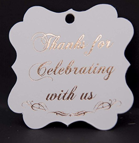 Thanks for Celebrating with Us, Rose Gold Foil, 30 Pack, Thank You Tags, Party Hearts Collection (Rose Gold Tags Frame 3)