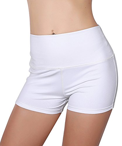 Unicorn scholar Womens Stretch High Waist Athletic Yoga Shorts (Small, White) (Spandex Shorts White)