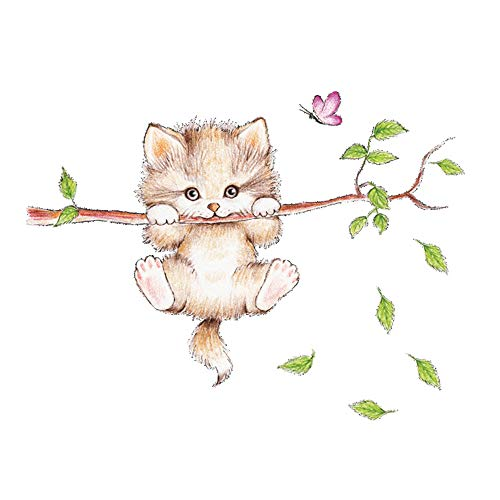 Animal Wall Stickers, Cute Cat Wall Self-Adhesive Decorative Decals, Used for Home Nursery, Classroom, Office Decoration 1
