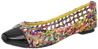 Betsey Johnson Women's Shhine Flat,Black Multi,5 M US