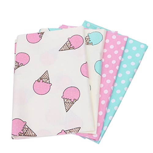 SCASTOE 50x40cm 4pc Ice Cream Printing DIY Craft Sewing Patchwork Artcraft Quilting Cotton Fabric Material