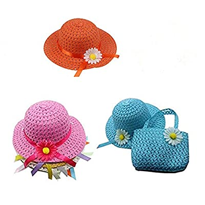 3 Girls Tea Party Sun Hat and Purse Sets. Includes 3 Purses & 3Daisy Flower Sunhats(Random Color): Toys & Games