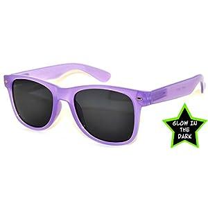 Classic Vintage Sunglasses Glow in the Dark Purple Frame Smoke Lens