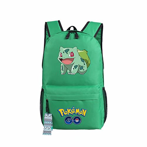 ZFX 600D Oxford Anime Pocket Monsters Special Pokémon Pikachu Gengar Students Backpacks Shoulder Bags Schoolbag Green Bulbasaur