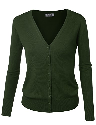 BIADANI Women Button Down Long Sleeve Soft V-Neck Cardigan Sweater Olive X-Large