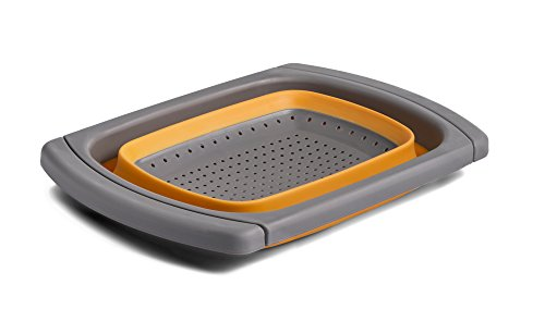 Kitchen Maestro Collapsible Over the Sink Silicone Colander / Strainer (Over - Dishwasher Safe Colander