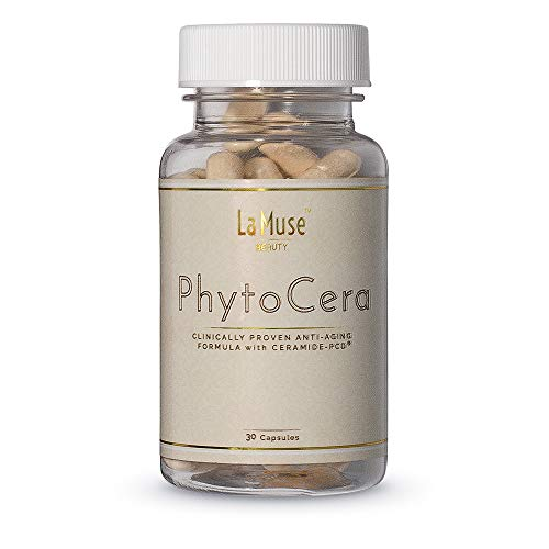 La Muse by Hair La Vie Phytocera Dry Skin Supplement for Women - Phytoceramides for Aging Skin - Rice Based and Gluten Free - Glowing Skin Vitamins