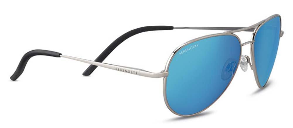 Serengeti Carrara Small Sunglasses Shiny Silver, Blue by Serengeti